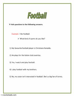 Interactive worksheet Football
