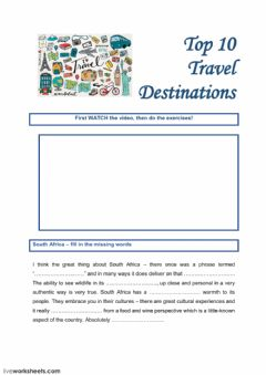 Interactive worksheet Top 10 travel destinations