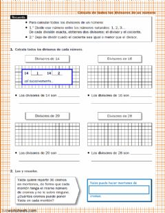 Interactive worksheet Divisores