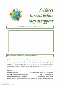 Interactive worksheet 5 places to visit before the disappear