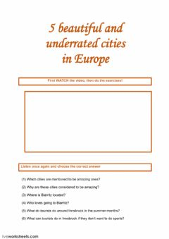 Interactive worksheet 5 beautiful and underrated cities in Europe