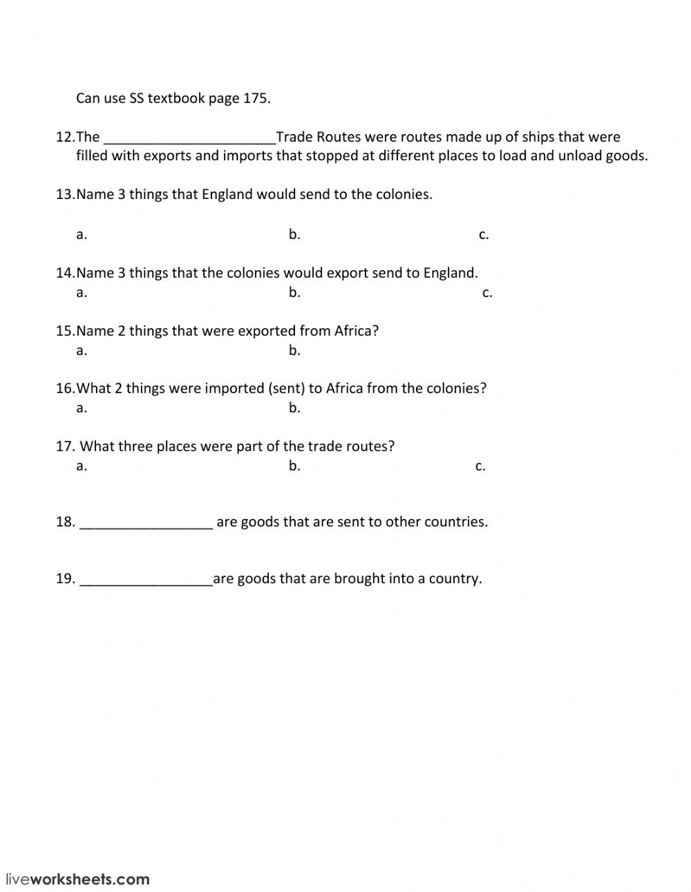New England Colonies worksheet