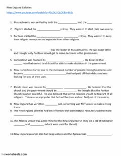 Interactive worksheet New England Colonies