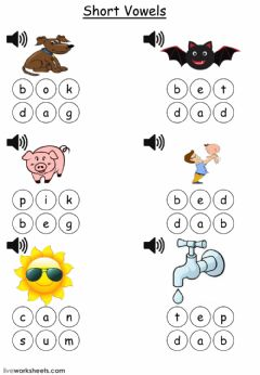 Interactive worksheet 3 letter words click on the letters