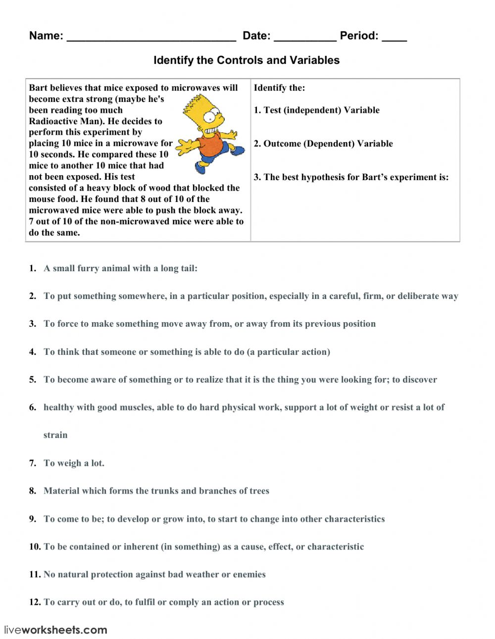 Identify the Controls and Variables-1 - Interactive worksheet