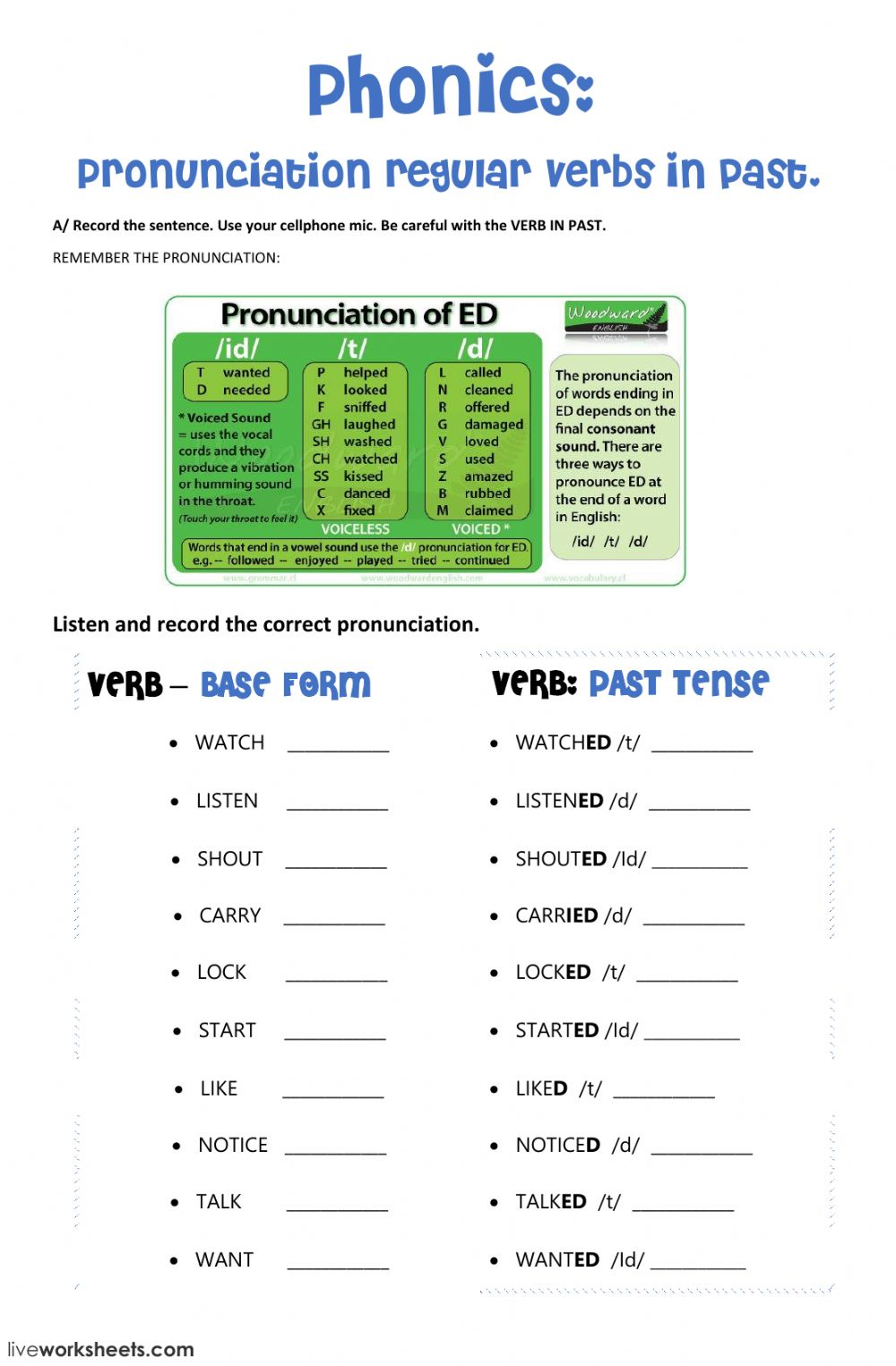 Pronunciation regular verbs in past - ed - Interactive worksheet