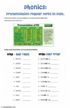 Interactive worksheet Pronunciation regular verbs in past - ed