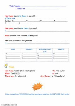 Interactive worksheet  days and months