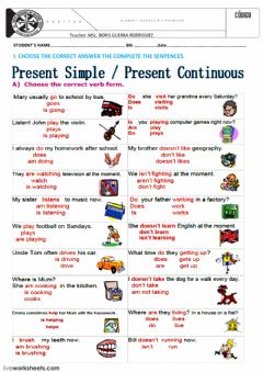 Interactive worksheet SIMPLE PRESENT AND CONTINUOS TENSE WORKSHEET 1