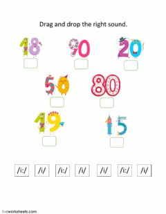 Ficha interactiva drag and drop numbers