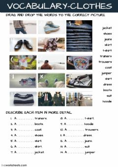 Interactive worksheet Vocabulary - Clothes