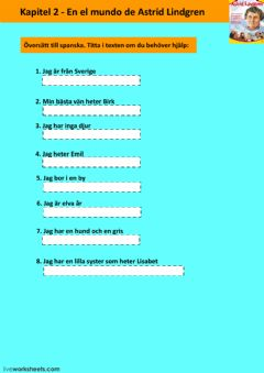 Interactive worksheet Kapitel 2 - uppgift 1 - åk 7