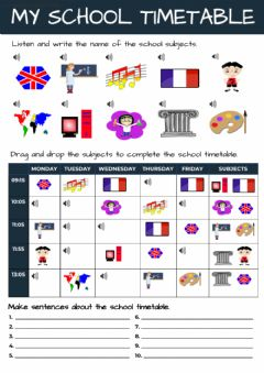 Ficha interactiva Vocabulary - School subjects