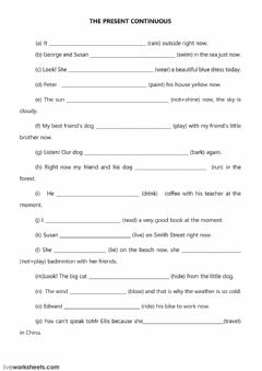 Interactive worksheet The present continuous