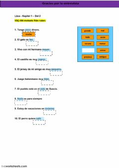 Interactive worksheet Kapitel 1 - läxa - del 2