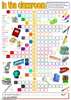 Ficha interactiva In the classroom - crosswords