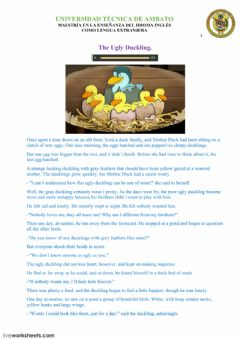 Interactive worksheet The Ugly Duckling Fairy Tale.