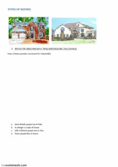 Interactive worksheet types of houses