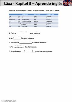 Interactive worksheet Kapitel 3 - läxa - åk 8