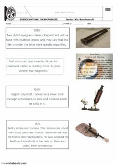 Interactive worksheet MICROSCOPE TIMELINE AND PARTS