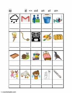 Interactive worksheet ai ay phonics