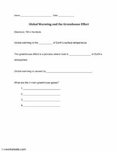 Interactive worksheet Global Warming and the Greenhouse Effect