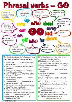 Interactive worksheet Phrasal verbs - GO