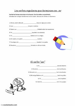 Interactive worksheet Verbos regulares ar y ser
