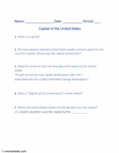 Interactive worksheet Capital of the United States