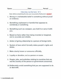 Interactive worksheet Citizenship: Just the Facts - No 2