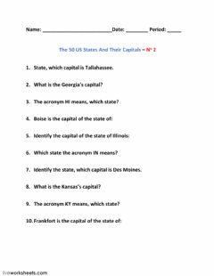 Interactive worksheet The 50 US States And Their Capitals – No 2