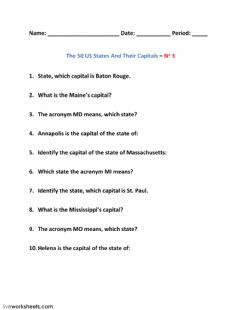 Interactive worksheet The 50 US States And Their Capitals – No 3