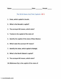 Ficha interactiva The 50 US States And Their Capitals – No 4
