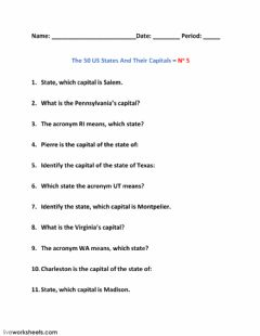 Interactive worksheet The 50 US States And Their Capitals – No 5