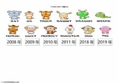 Interactive worksheet The years of Chinese zodiac