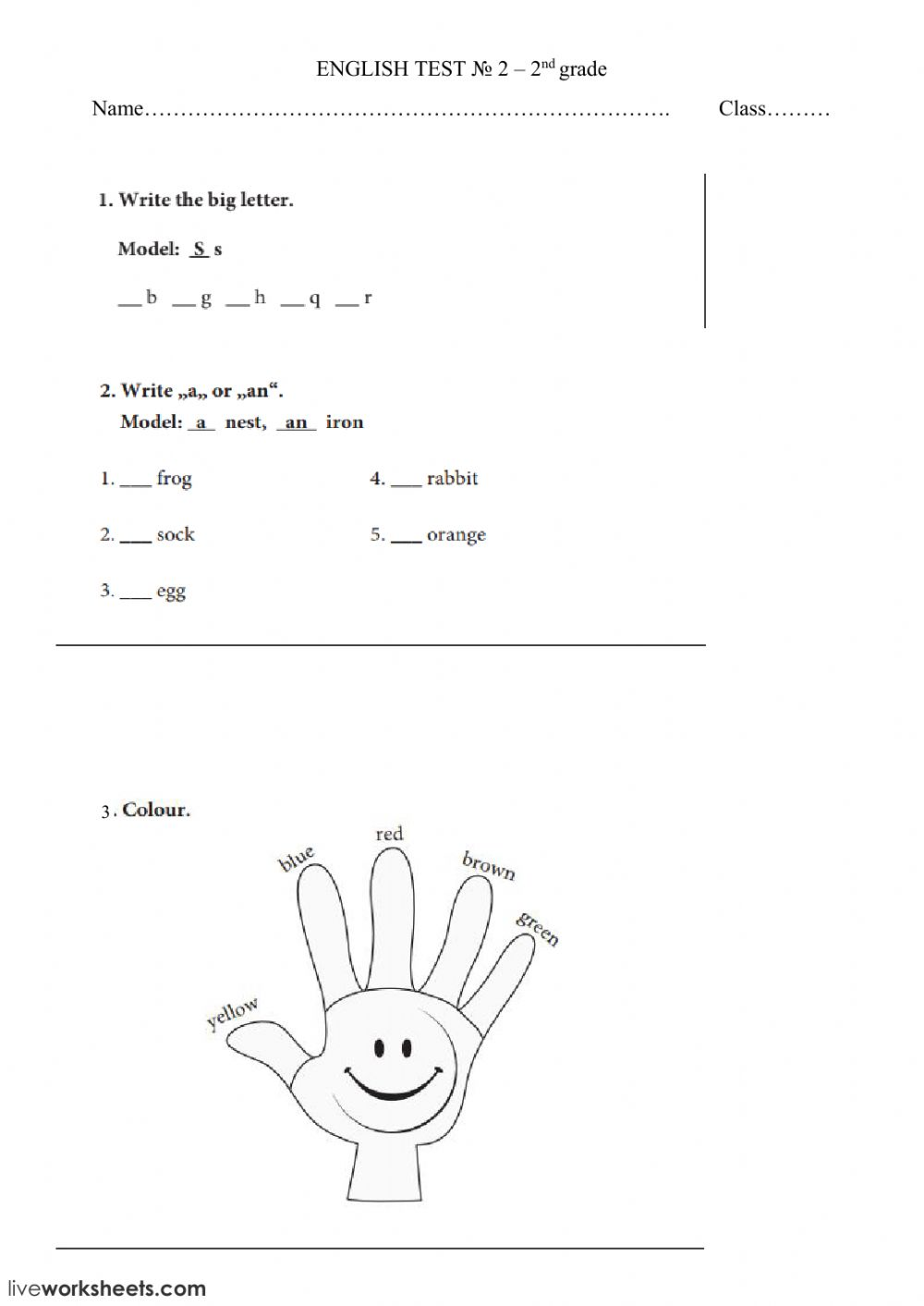 - Letters, Colours, A - An - Interactive Worksheet