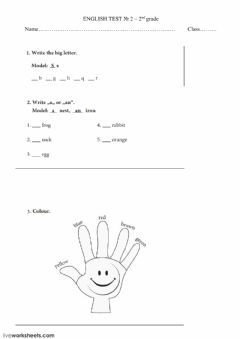 Interactive worksheet Letters, colours, a - an