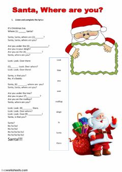 Interactive worksheet Listening about santa claus