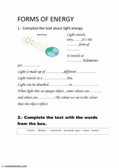 Interactive worksheet Light and sound energy