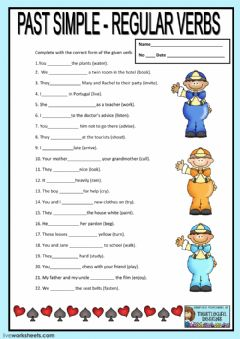 Interactive worksheet Regular verbs. Past tense