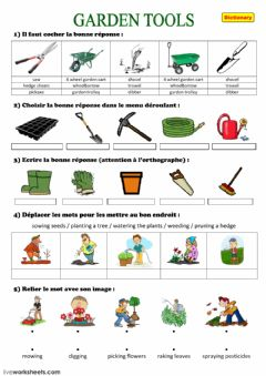 Interactive worksheet Gardening tools