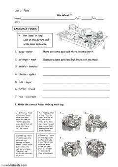 Interactive worksheet Foods