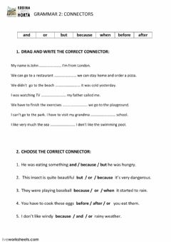 Interactive worksheet Connectors