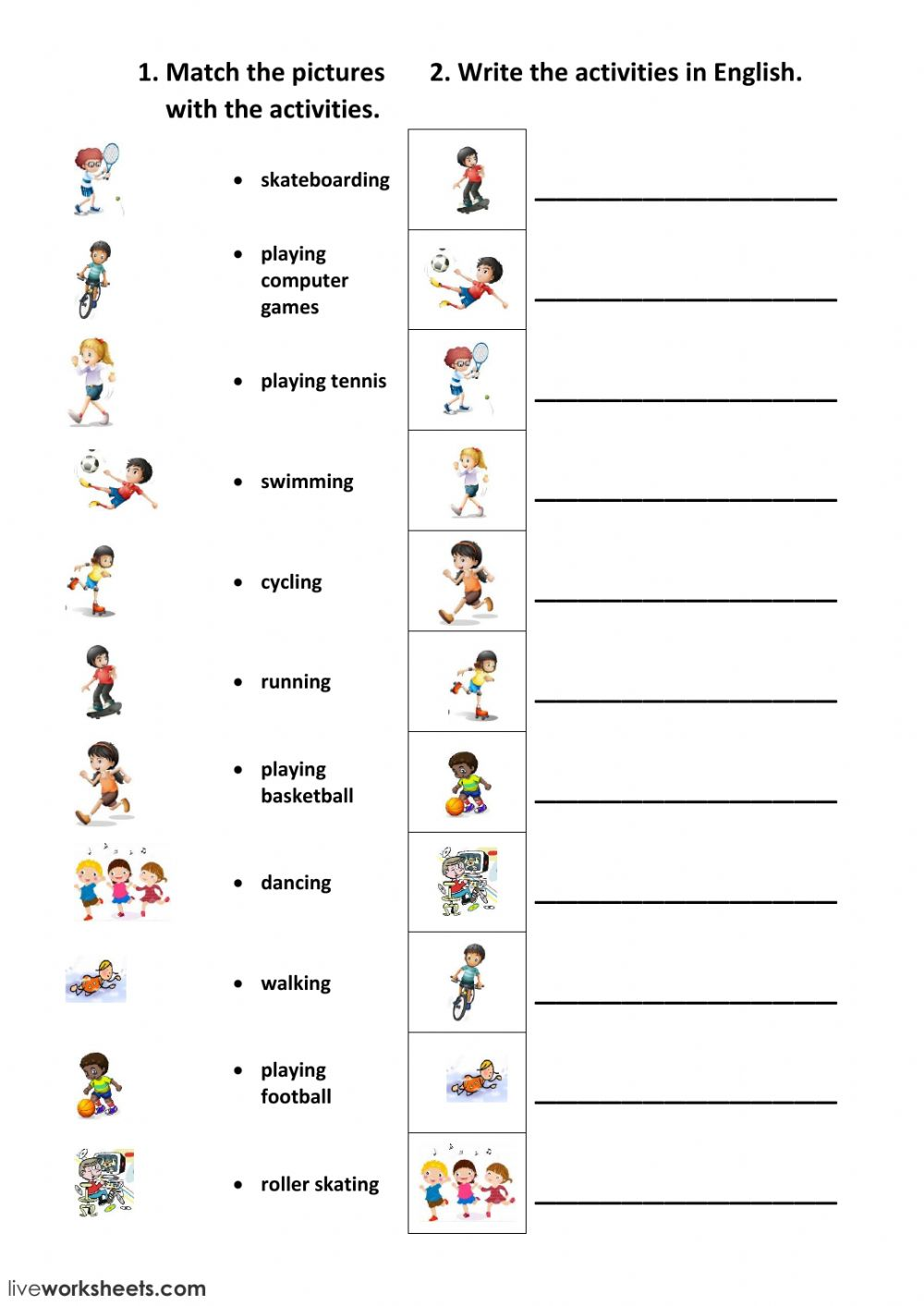 - Free Time Activities - Interactive Worksheet