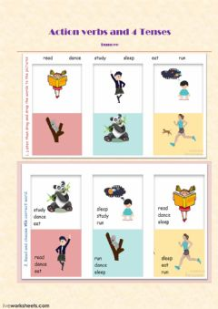 4 Tenses and action verbs review worksheet preview