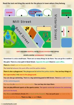 Interactive worksheet Places in town - reading comprehension