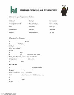 Interactive worksheet Greetings and farewells