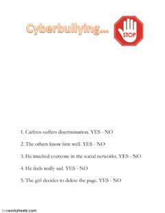Interactive worksheet Cyberbullying