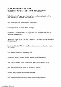 Interactive worksheet English Class 7B Goodnight Mister Tom Questions
