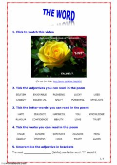 Interactive worksheet The Word